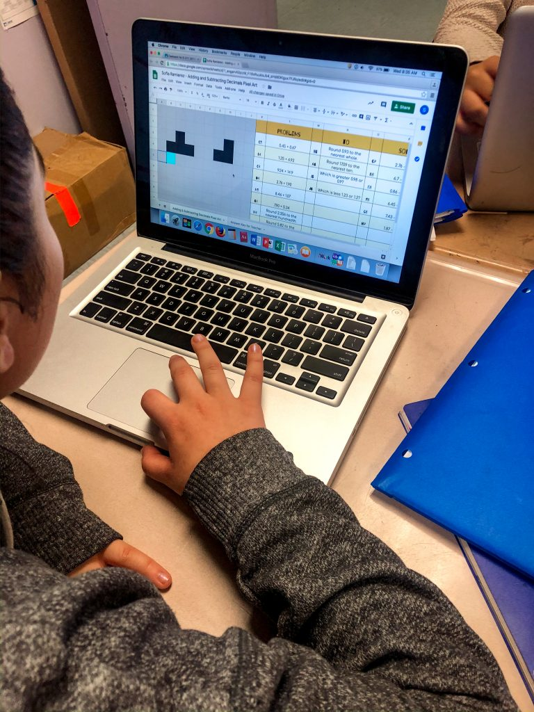 Students completing pixel art - make a copy.