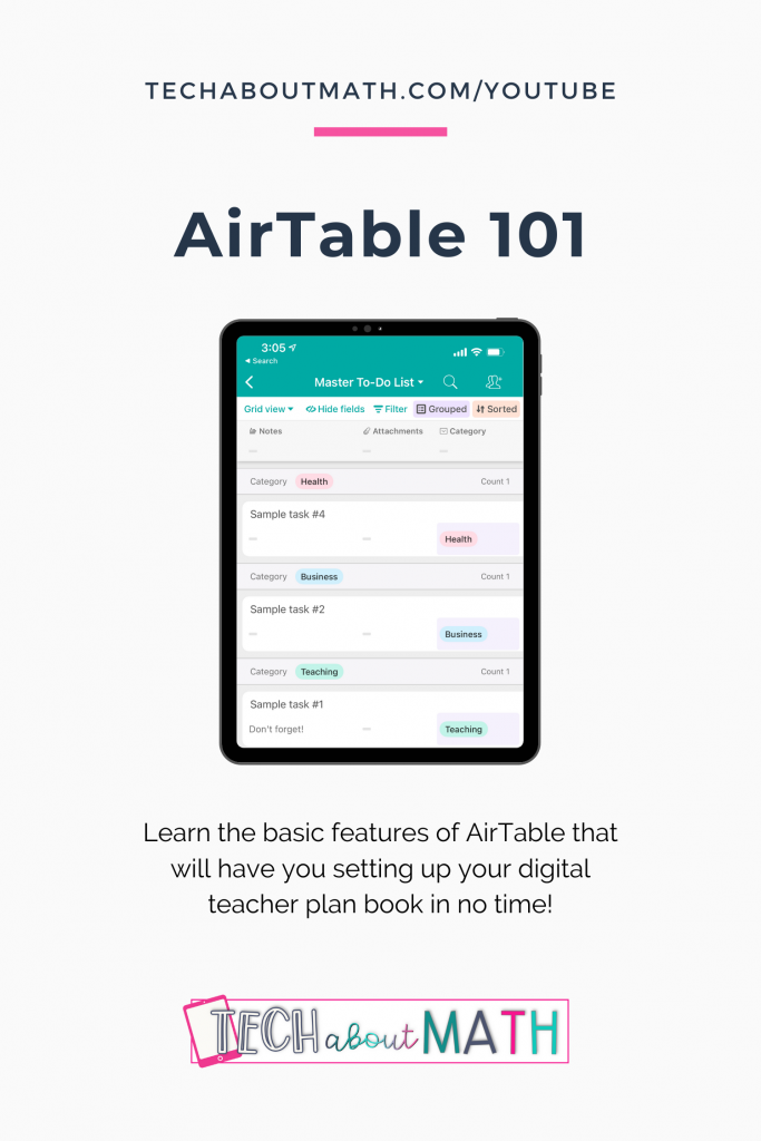 Airtable overview pinterest image. Learn the basic features of AirTable that will have you setting up your digital teacher plan book in no time!